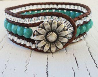 Items similar to Silver Leather Wrap Bracelet, Daisy Bracelet, Boho Chic Bracelet, Silver Bracelet, Bohemian Jewelry, Beaded Wrap Bracelet, Cowigirl Jewelry on Etsy