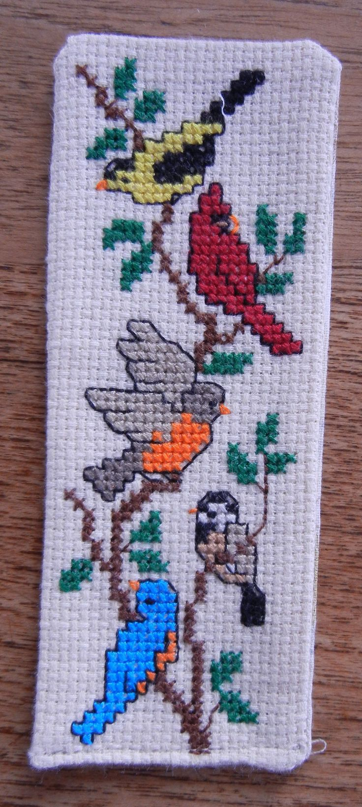 Birds bookmark cross stitch.