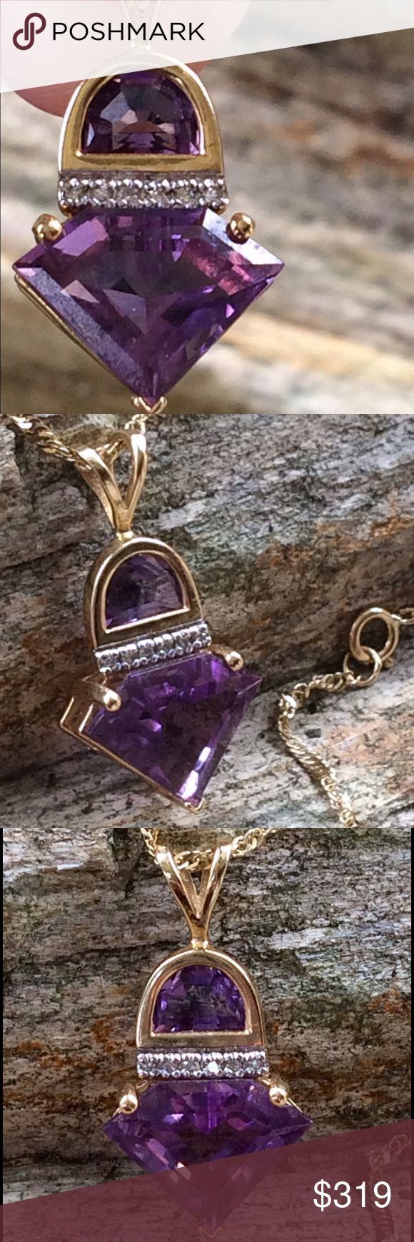 🆕14k Designer Fancy Cut Amethyst Diamond Necklace Large rich purple half moon cut and triangle cut Amethyst stones with diamonds set in 14k with a 14k gold chain!  Unique and majestic! Jewelry Necklaces