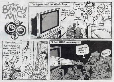 Kartun Benny & Mice, Persiapan Nonton World Cup, Kompas 2010