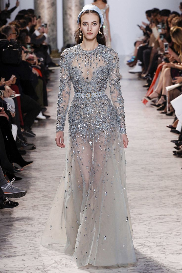 Elie Saab Spring 2017 Couture: Ice Princess! I adore the silver/ ice blue color!