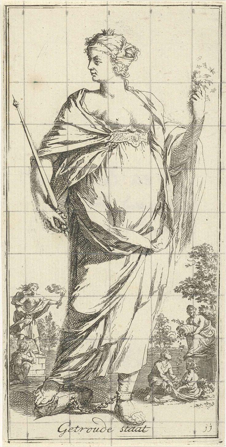 Arnold Houbraken | Personificatie van de getrouwde staat, Arnold Houbraken, 1710 - 1719 | Een aan haar voet geketende vrouwfiguur met in haar rechterhand een scepter als personificatie van de getrouwde staat. Links op de achtergrond een paar dat put uit een hoorn des overvloeds en links een figuur met een fakkel op een sokkel met ervoor een knielende figuur. Prent uit een serie van 41 zinnebeelden. Over de prent een raster in potlood.