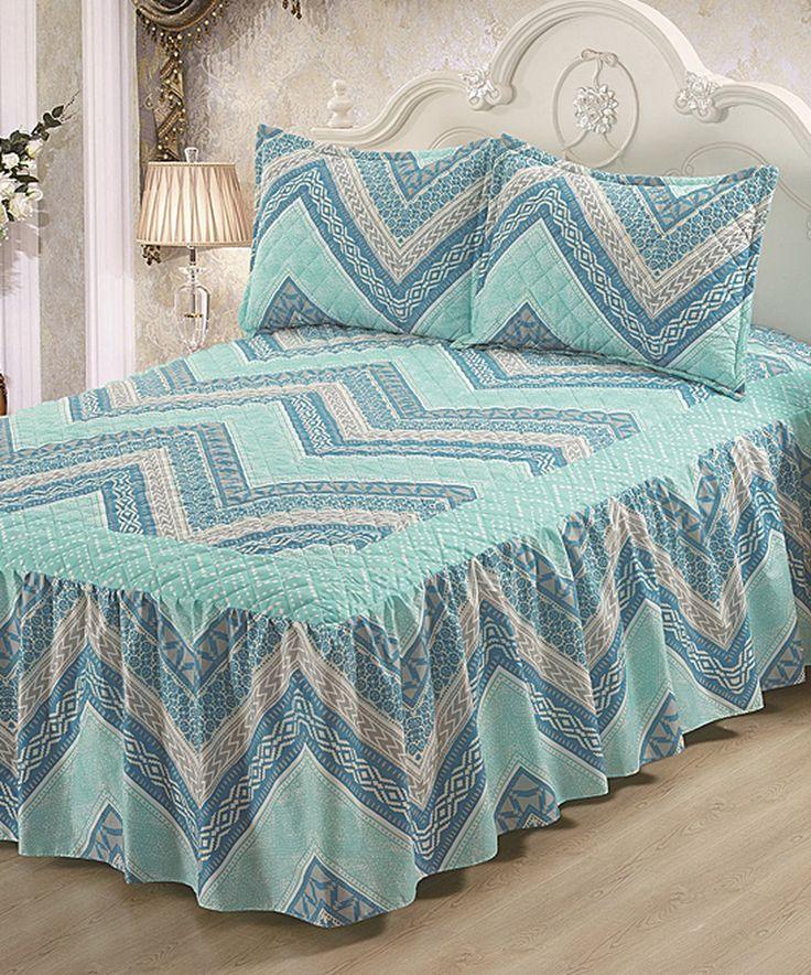 Look at this #zulilyfind! Aqua Hailey Bed Skirt Set by Glory Home Designs #zulilyfinds