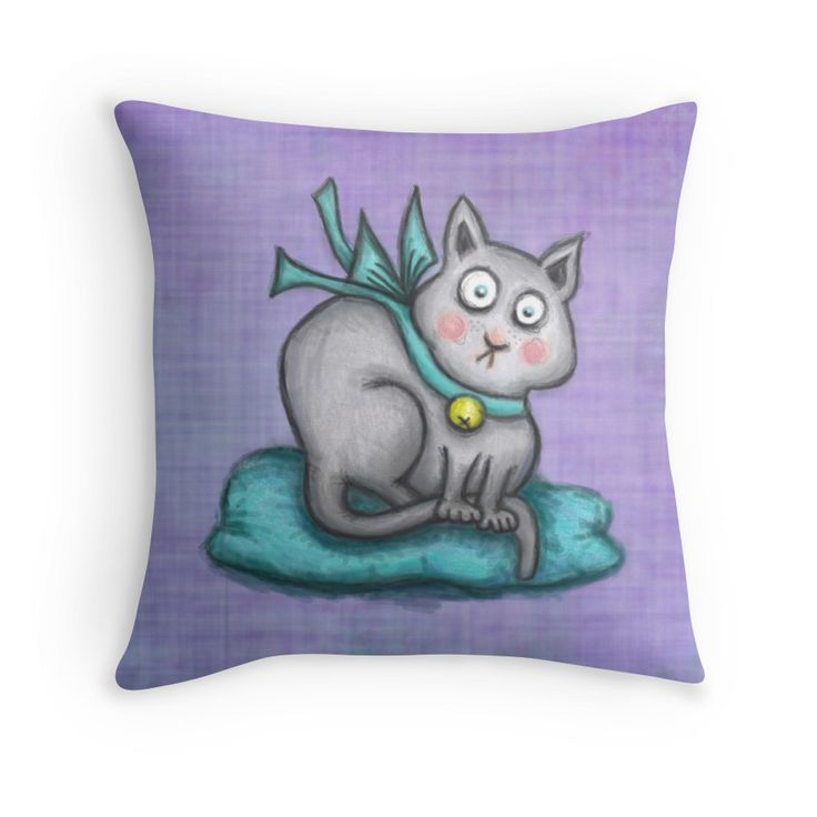 """""""Pomona"""" Throw Pillows by tuile   Redbubble  Pomona really likes to take long naps. She loves to sleep on pretty and cosy cushions and on fluffy blankets. Her favourite colour is turqoise, so she often wears her turquise-blue silk ribbon around her neck. Beacuse she also wears a bell on it, sometimes it happens that she suddenly wakes up to the bellring when she was chasing snacks in her dream.  color pencil drawing digitally recoloured"""