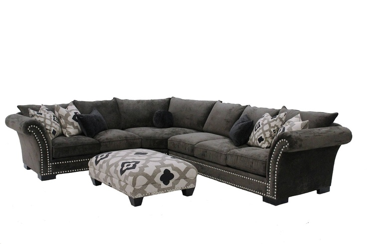Cambria Grey Nail Head Fabric 3 Peice Oversized Sectional