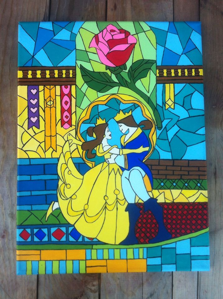 Diy Beauty And The Beast Stained Glass Inspired Canvas