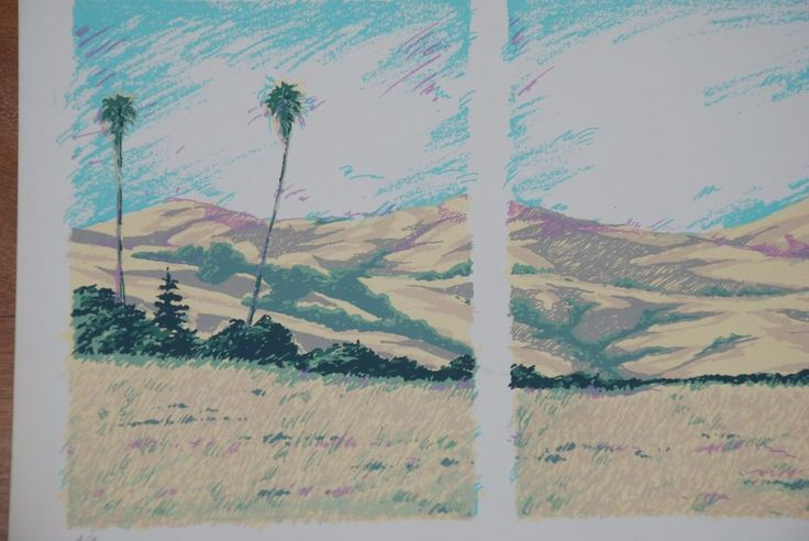 A/P Lithograph of Desert Palms by William Spencer III #Impressionism