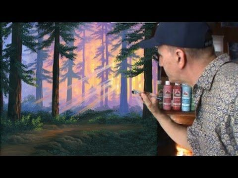 ▶ How To Paint A Forest Sunset Speed Video Art Class Painting Demonstration Music Demo - YouTube