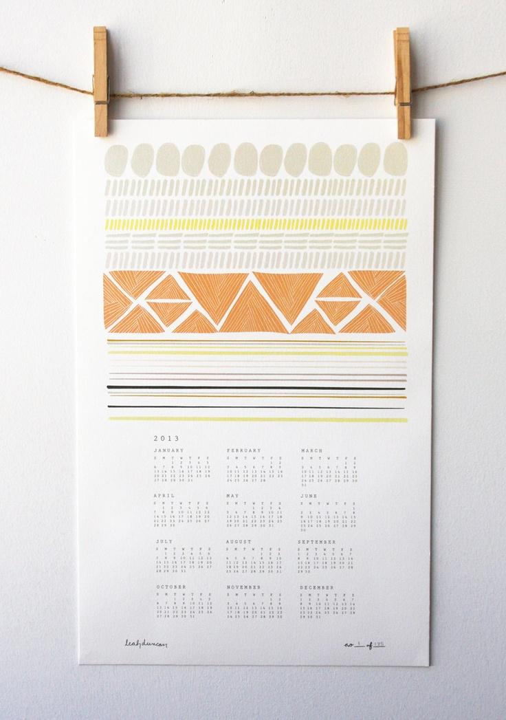 2013 Shapes Wall Calendar. $22.00, via Etsy.