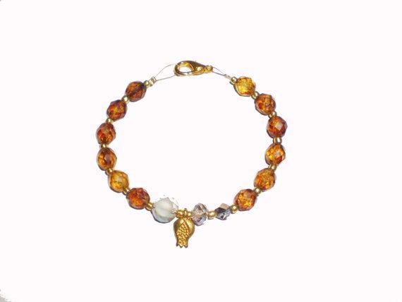 Charm Bracelet Brown Bracelet Beaded Bracelet by twolittlefairies