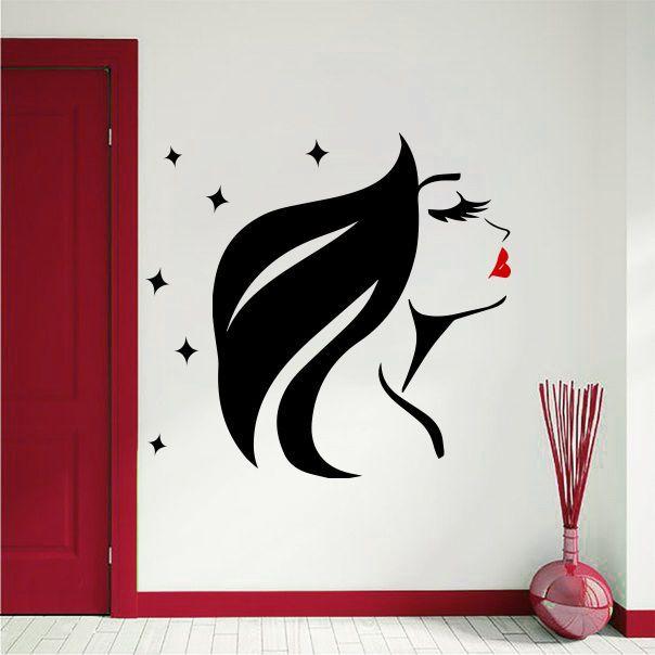 Wall Decal Beauty Salon Decals Girl Face Hair Lips Star