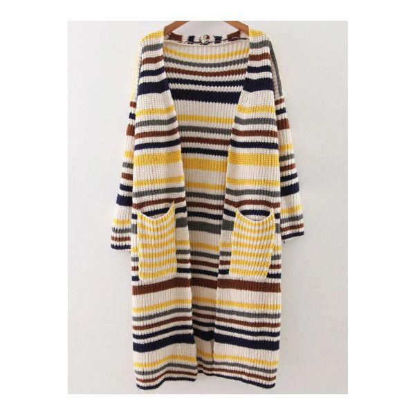 SheIn(sheinside) Yellow Striped Drop Shoulder Pocket Long Cardigan ($26) ❤ liked on Polyvore featuring tops, cardigans, yellow, long yellow cardigan, embellished cardigan, long sleeve tops, long cardigan and embellished tops