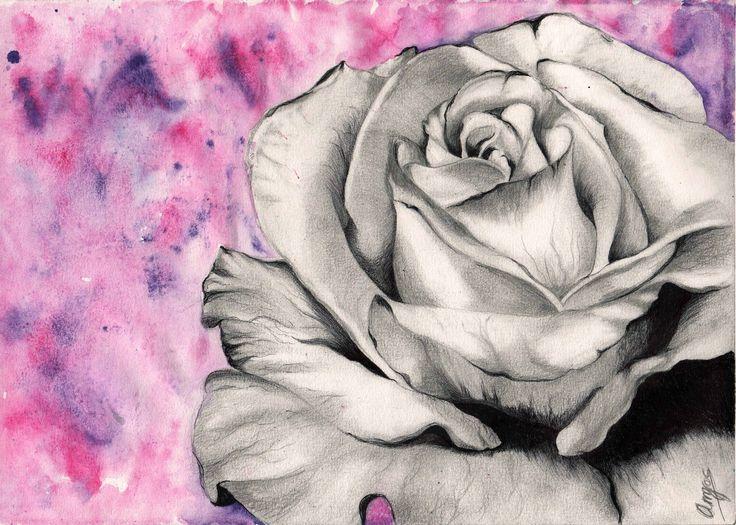Rosa - Cuando el corazón florece, el universo florece contigo. Cuando lloras, lloras solo - Dibujo con boli, lápiz y acuarela sobre papel - 20x30 cm