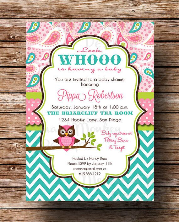 Owl Baby Shower Invitation - Baby Girl - Pink Aqua Teal Paisley Chevron - Printable Invite - Pippa