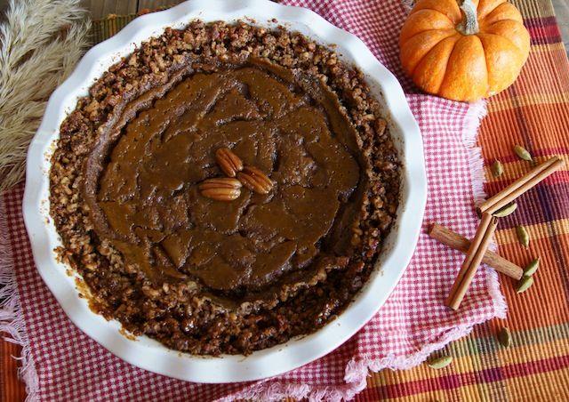 Pecan Crusted, Salted, Spiced Caramel Pumpkin Pie {Gluten-Free Recipe}