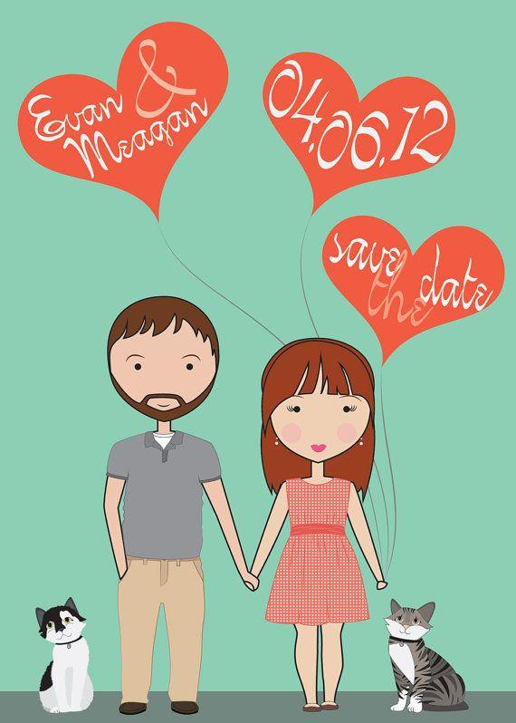 Custom Illustrated Portraits - Save the Dates, Wedding Invitations
