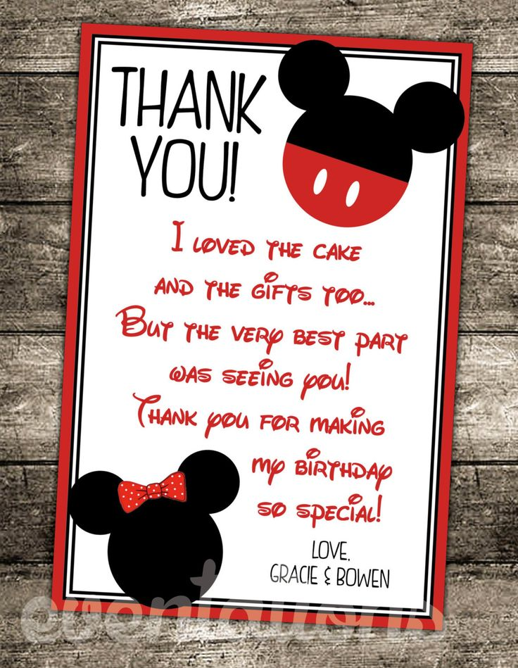 Oh twodles mickey mouse birthday thank you card mickey
