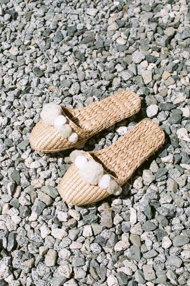 Folk Fortune Straw Slippers