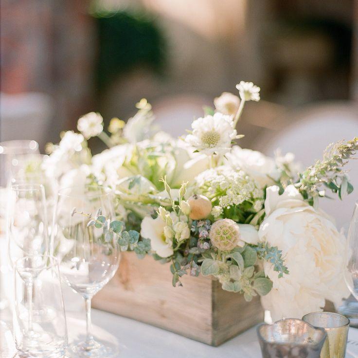 White wedding reception centerpiece in wood box container. Elegant wine country vineyard event. Photo: Sylvie Gil. Wedding planner: Cole Drake Events. Sonoma Napa Valley Northern California florist. Fleurs de France. www.fleursfrance.com.