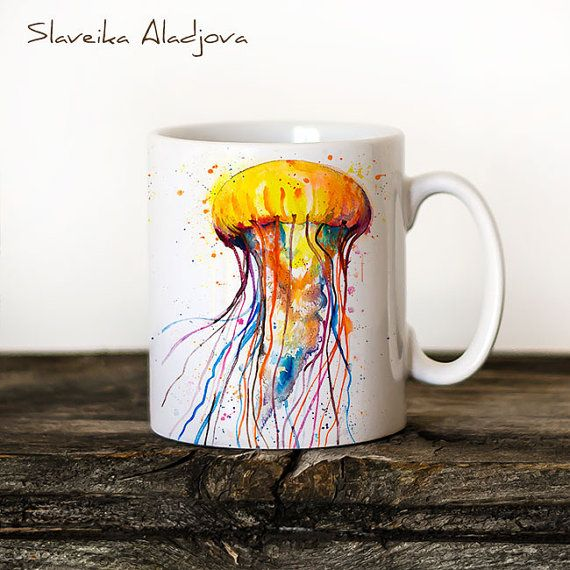 Jellyfish Mug Watercolor Ceramic Mug Unique Gift Coffee Mug Animal Mug Tea Cup Art Illustration Cool Kitchen Art Printed mug  ABOUT MY MUGS  High quality ceramic mug Microwave and dishwasher safe Can be used for both hot & cold beverages Design shown on 11oz mug Heat-pressed by hand, using HD sublimation inks Portrait illustrations are printed 3 times on the mug Landscape illustrations are printed 2 times on the mug  SHIPPING INFORMATION  Please allow up to 1-2 business days for productio...