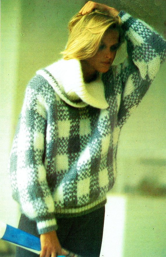 PDF Vintage Womens Ladies Knitting Pattern 1980s GRAPHIC
