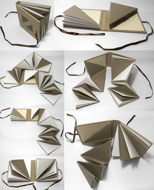 Gabriela Irigoyen handmade book - Fun Book. Two textblocks in triangle shape covered by a single cover Dimensions 11 cm X 11 cm