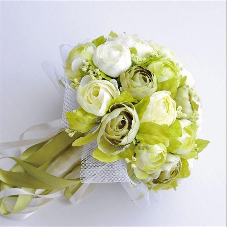 Свадебный букет в бело зеленых тонах, купить цветы