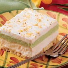 Fluffy Pistachio Dessert Classic dessert! My mom had me make this when ever we had company over. I don't think it was the reduced calorie version they have here but it rocked. Sometimes I changed up the flavors: black forest-with chocolate pudding & cherry pie filling or vanilla pudding & apple pie filling.