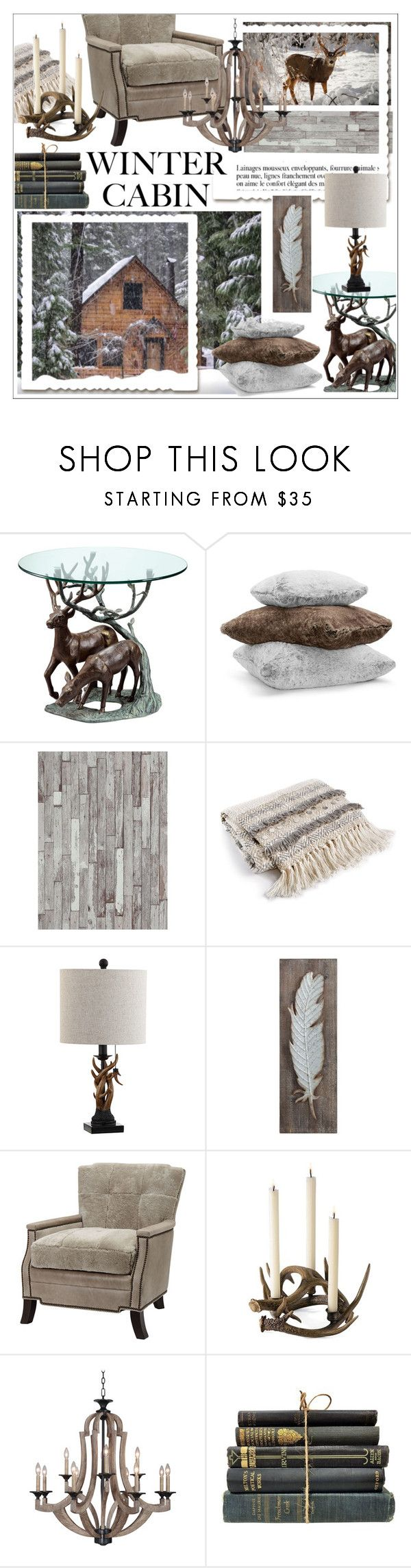"""Into The Woods *  Cozy Cabin"" by calamity-jane-always ❤ liked on Polyvore featuring interior, interiors, interior design, home, home decor, interior decorating, Anja, Hudson Park, BD Fine Wallcoverings and Lacourte"