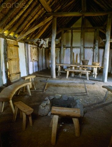 Interior of a Reconstructed Anglo Saxon Timber Hall at Bede's World Which is Based on an Example Exc