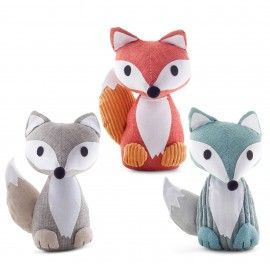 'Todd' Fabric Fox Door Stop - Orange, Blue or Grey Available