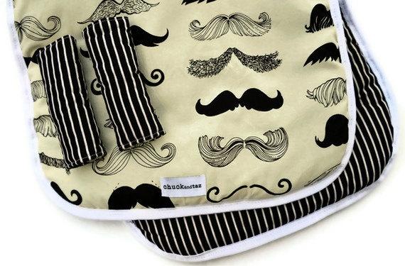 Reversible Stroller/Pram Liner Moustache's and Black and White Stripes #projectnursery #franklinandben #nursery