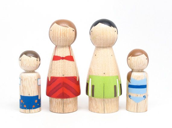 Fair Trade // Children Toys Wooden PEG DOLLS The Bathers // A Set of Hand-Painted Wooden Peg Dolls Kids Wooden Toys on Etsy, $50.00