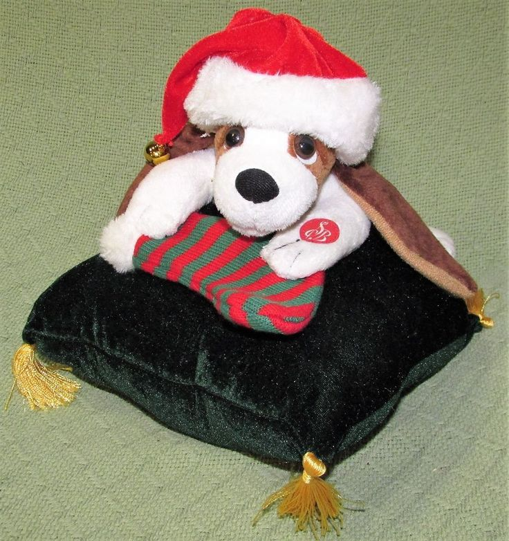 Elvis Presley Animated HOUND DOG Christmas Plush on Green Pillow Moves & Sings