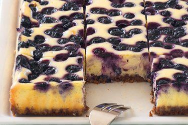 Blueberry Cheesecake Slice recipe, NZ Woman's Weekly – This might be called a cheesecake slice, but who will be able to stop at just one piece? – foodhub.co.nz