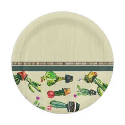 Southwestern Cactus Plant Natural Baby Shower Paper Plate - engagement gifts ideas diy special unique personalize