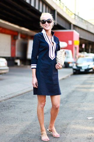 Navy Dress with White accents