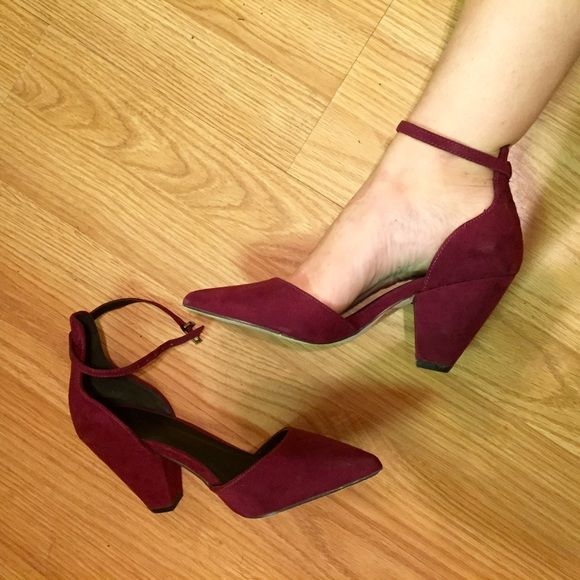 Ankle strap heels Perfect sized heel - maroon suede. Worn once for a wedding. True 5.5 (I'm usually a 5.5/6 and these we just a tad too tight to be comfy)  classy + sassy ASOS Shoes Heels
