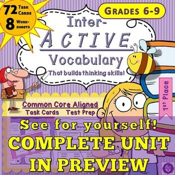 400+ Practice Test Prep Questions, 50+ Quizzes, Homework Handouts & Worksheets with 8-20 Questions Each Answer keys are included - over 200 terms covered - No prep required - just copy or project and go.  #teach #middleschool #testprep