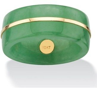 Seta Jewelry Genuine Green Jade Striped Ring Band With Accent.