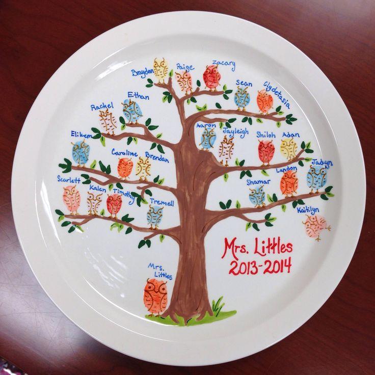 Fingerprint pottery owls - teacher appreciation gift