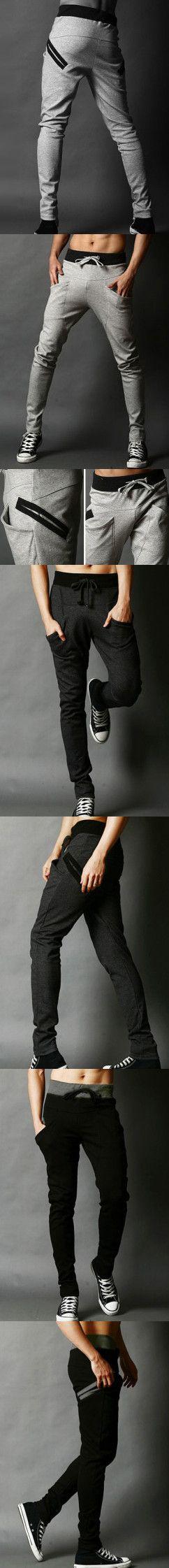 Hip Hop Style Lace-Up Cotton Blend Long Baggy Sweatpants For Men