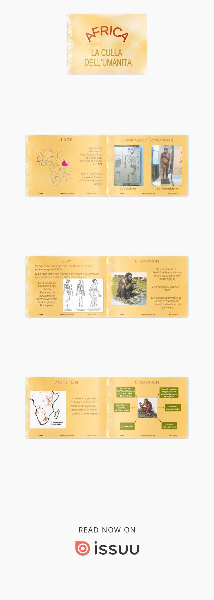 Presentazione per i bambini della classe 3^ della scuola primaria. L'evoluzione dell'uomo: Australopiteco e Homo habilis