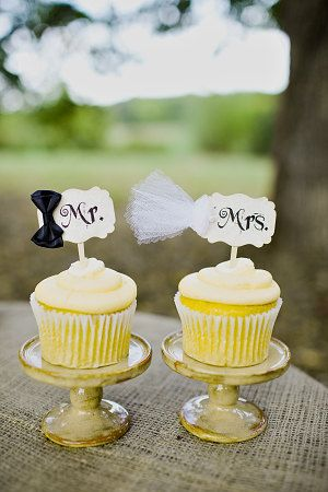 Mr. and Mrs. Bride and Groom Wedding Cupcake Cake Slice Parchment Toppers Picks - Set of 2 - 1 Pair on Etsy, $11.50