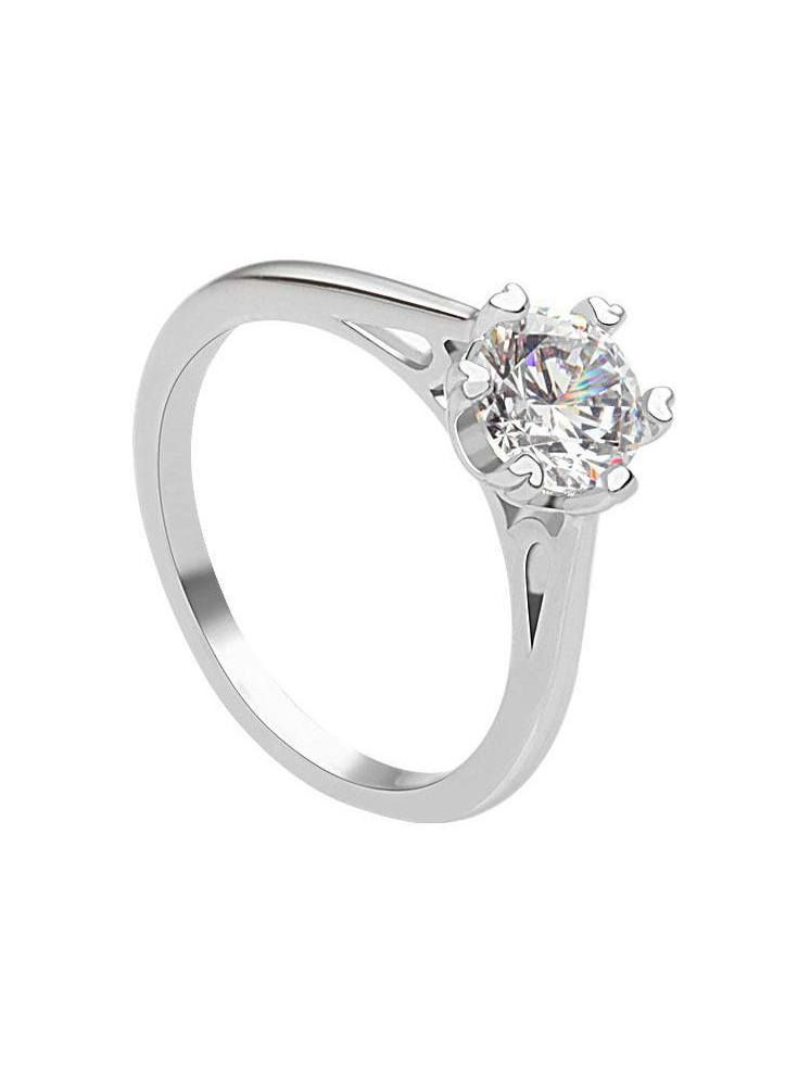 *Free shipping worldwide* Elegant and enduring, this solitaire ring is crafted in silver tone with a contoured ring design with six prongs to frame the center cubic zirconia. | bridal ring | wedding ring | bridesmaid ring | prom ring | silver ring | cubic zirconia ring | bridal jewelry | wedding jewelry | prom jewelry | bridal jewellery | wedding jewellery | prom jewellery