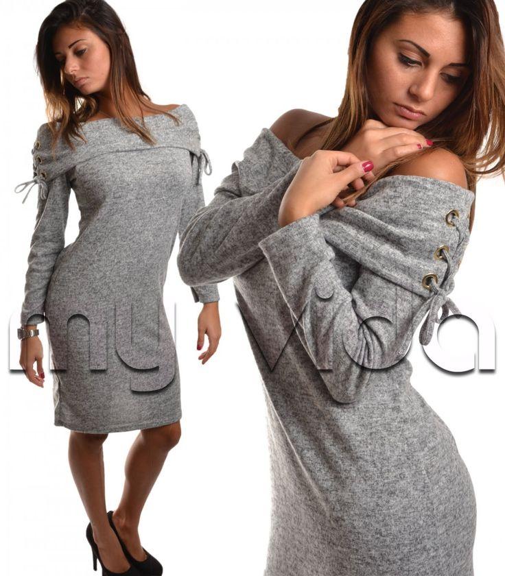 #Abito donna maxi maglione collo melange   My Vida #idea #ispiration #outfits #inverno #look #chic #style #cool #top #dress