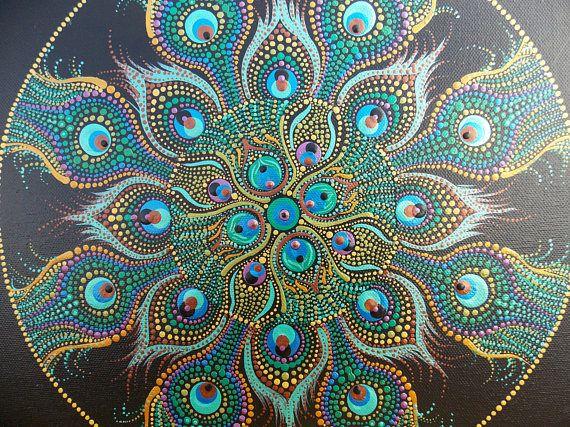 Peacock Mandala Dot Painting Original one of a kind dot