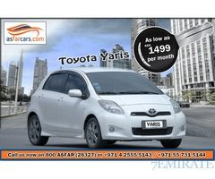 Cheapest Car Rental - Toyota Yaris @ 1499aed/month
