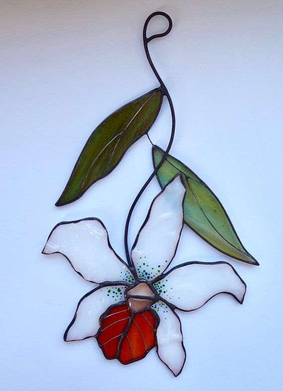 Flower Orchid Stained Glass Suncatcher window hangin Christmas/ birthday gift for mom friend sister colleague/ housewarming