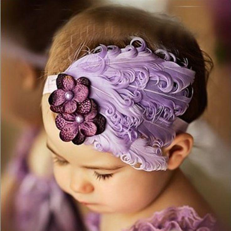 Groothandel pasgeboren meisjes elastische hoofdband veer pasgeboren meisjes hair bows weave band kids haaraccessoires